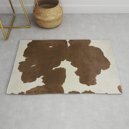 Dark Brown & White Cow Hide Rug