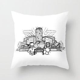 A cartoon view of Sheffield Throw Pillow