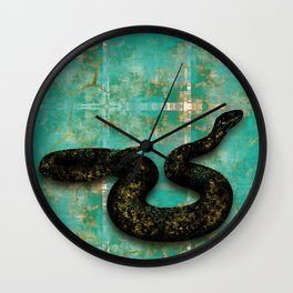 Black Snake on Old Teal Paint texture Wall Clock