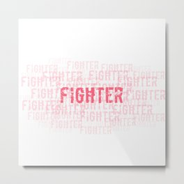 Fighter (Pink On White) Metal Print