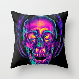 Trippy Skull Throw Pillow