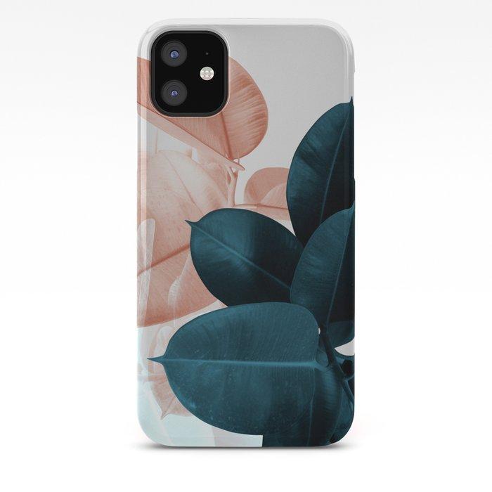 Blush & Blue Leaves iPhone Case