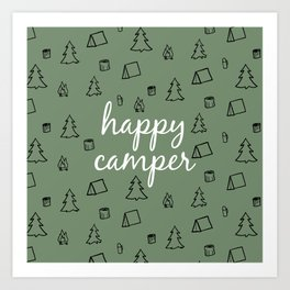 Happy Camper in Fern Green Art Print