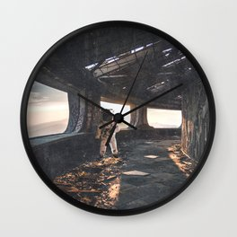 Astronaut in an Abandoned Building Wall Clock