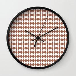 Sherwin Williams Cavern Clay and White Harlequin, Rhombus, Diamond Pattern Wall Clock