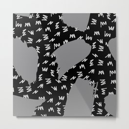 Black White And Grey Retro 80s Zig Zag Pattern Metal Print