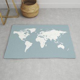 Minimalist World Map in Slate Blue Rug