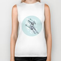skiing Biker Tanks featuring Skiing Slalom Circle Etching by patrimonio