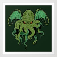 cthulhu Art Prints featuring Cthulhu by missmonster