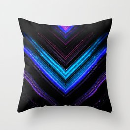Sparkly metallic blue and purple galaxy chevron lines Throw Pillow