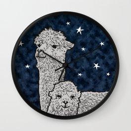 Alpacas on a starry night Wall Clock