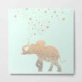 ELEPHANT - GOLD MINT Metal Print