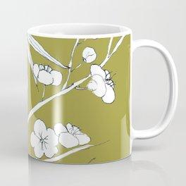bamboo and plum flower in white on yellow Coffee Mug