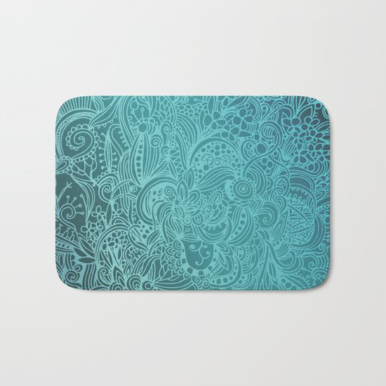 Detailed zentangle square, blue colorway Bath Mat