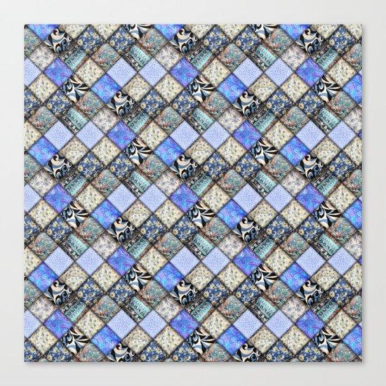 Faux Patchwork Quilting - Blues Canvas Print