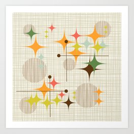 Mid Century Modern Starbursts and Globes 3a Art Print