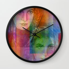 charcoal on texture - girls Wall Clock