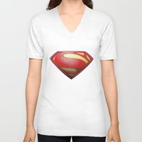 superman V-neck T-shirts featuring Superman by DeBUM