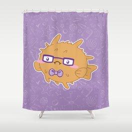 Nerdy Blowfish Shower Curtain