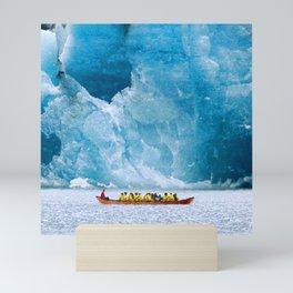 Massive Blue Ice Alaskan Glacier Vs. Small Canoe Mini Art Print
