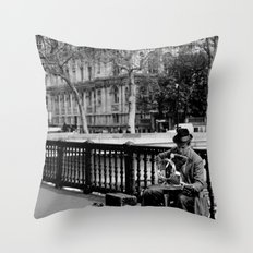 Street Musician Throw Pillow