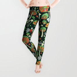 glowing fireflies and fungi at night Leggings