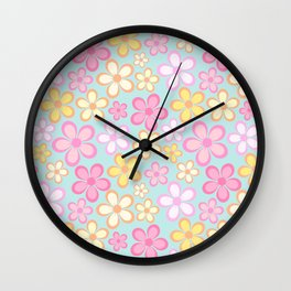 Pastel boho flowers pattern Wall Clock