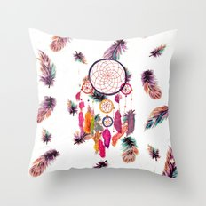 Hipster Watercolor Dreamcatcher Feathers Pattern Throw Pillow