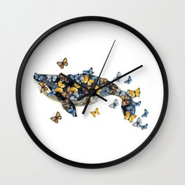 Watercolor whale with butterfly Wall Clock