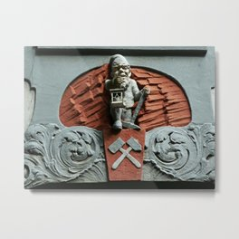 Gnome figure on building Metal Print