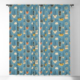 1950s Houseplants- Blue Blackout Curtain
