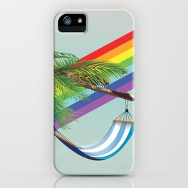 Hammock, Palm and rainbow iPhone Case