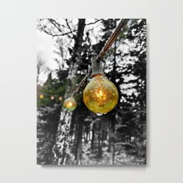 String Lights After the Rain Color/Black & White Mashup Metal Print