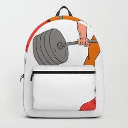 Buffed Lumberjack Lifting Weights Cartoon Backpack