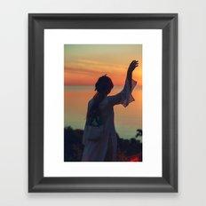 Girl in Sunset Framed Art Print