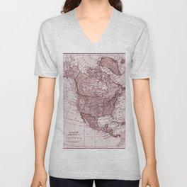 Vintage map of The North America Unisex V-Neck