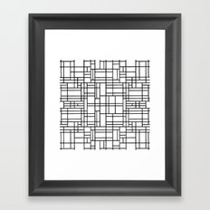 Map Outline Black on White Framed Art Print