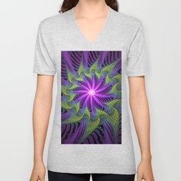 The Light from the Center, Fantasy Fractal Art Unisex V-Neck