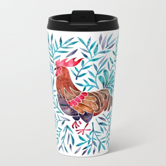 Le Coq – Watercolor Rooster with Turquoise Leaves Metal Travel Mug