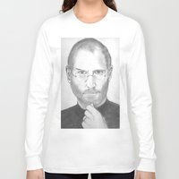 steve jobs Long Sleeve T-shirts featuring Steve Jobs by Feroz Bukht