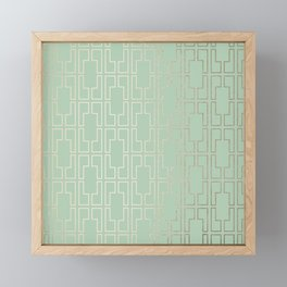 Simply Mid-Century in White Gold Sands and Pastel Cactus Green Framed Mini Art Print