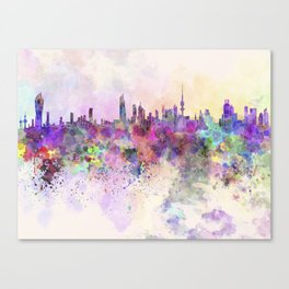 Kuwait City skyline in watercolor background Canvas Print