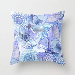 Lil' Garden Party in Blue Throw Pillow
