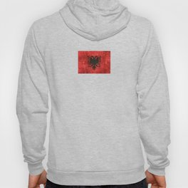 Vintage Aged and Scratched Albanian Flag Hoody