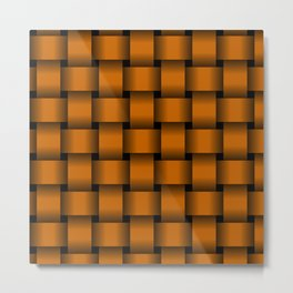 Large Dark Orange Weave Metal Print