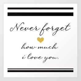 Never Forget How Much I Love You. Art Print