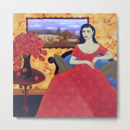 Seated Woman with Red Gown, Red Roses and Landscape Metal Print