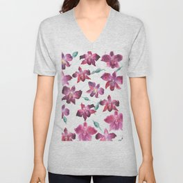 Hand drawn pattern Beautiful watercolor pink Orchid Unisex V-Neck