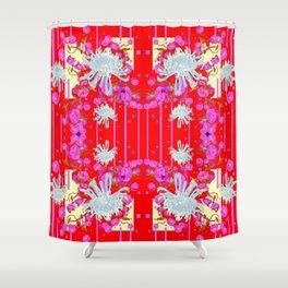 Modern Red Art White Spider Mums Pink Flowers Garden Art Shower Curtain
