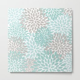 Floral Pattern, Teal, Aqua, Turquoise,Gray Metal Print
